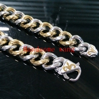 New 15mm Huge Heavy Cool Jewelry 316L Stainless Steel Silver Gold Curb Cuban Tone Chain Men