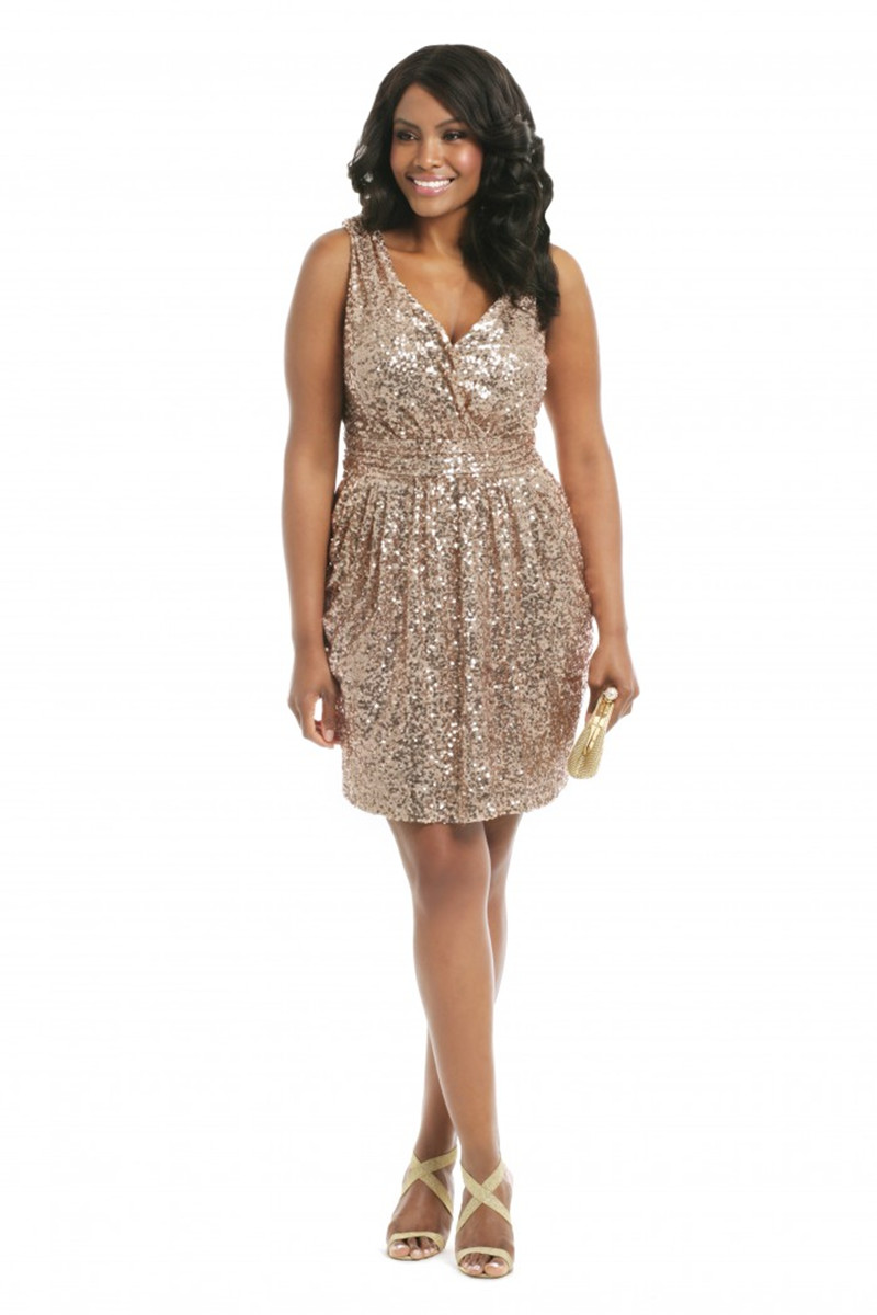 Plus Size Cocktail Dress 2017 Gold Formal Dresses V Neck Sequins ...