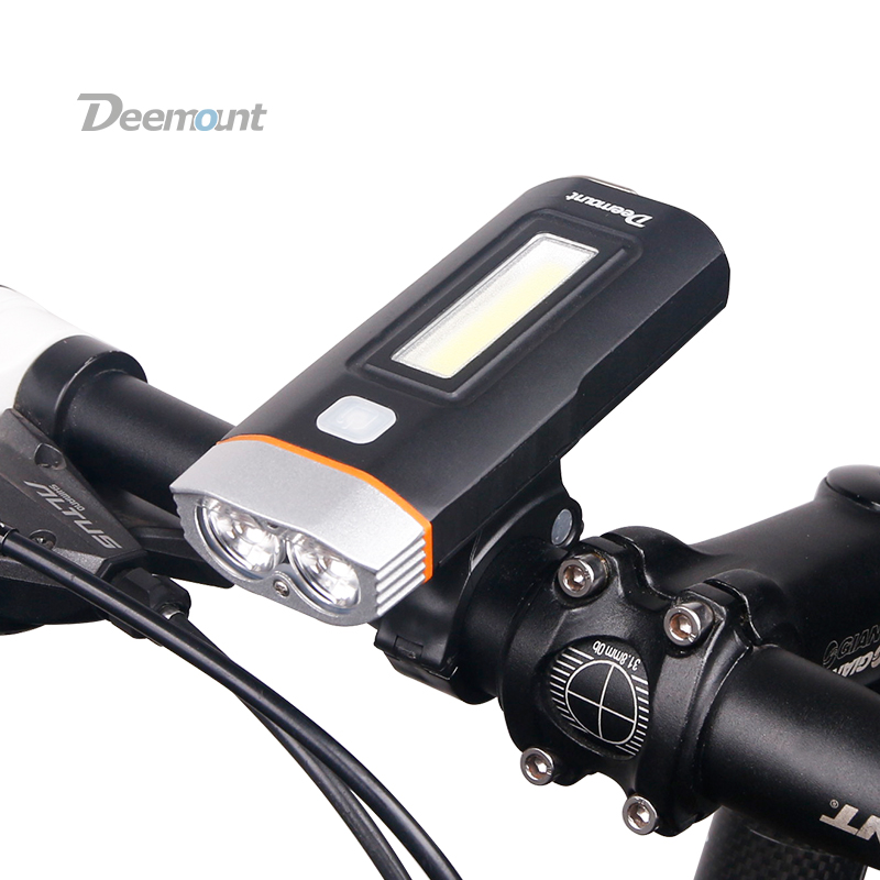 Deemount New Dual Two Lights Bicycle Headlight Bike LED Lamp T6 Cree U2 COB Front Light 650Lumens 18650 Battery Rechargeable 6000lumens bike bicycle light cree xml t6 led flashlight torch mount holder warning rear flash light