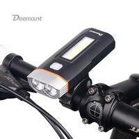 Deemount New Dual Two Lights Bicycle Headlight Bike LED Lamp T6 Cree U2 COB Front Light
