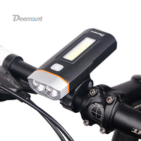 Deemount New Dual Two Lights Bicycle Headlight Bike LED Lamp T6 Cree U2 COB Front Light