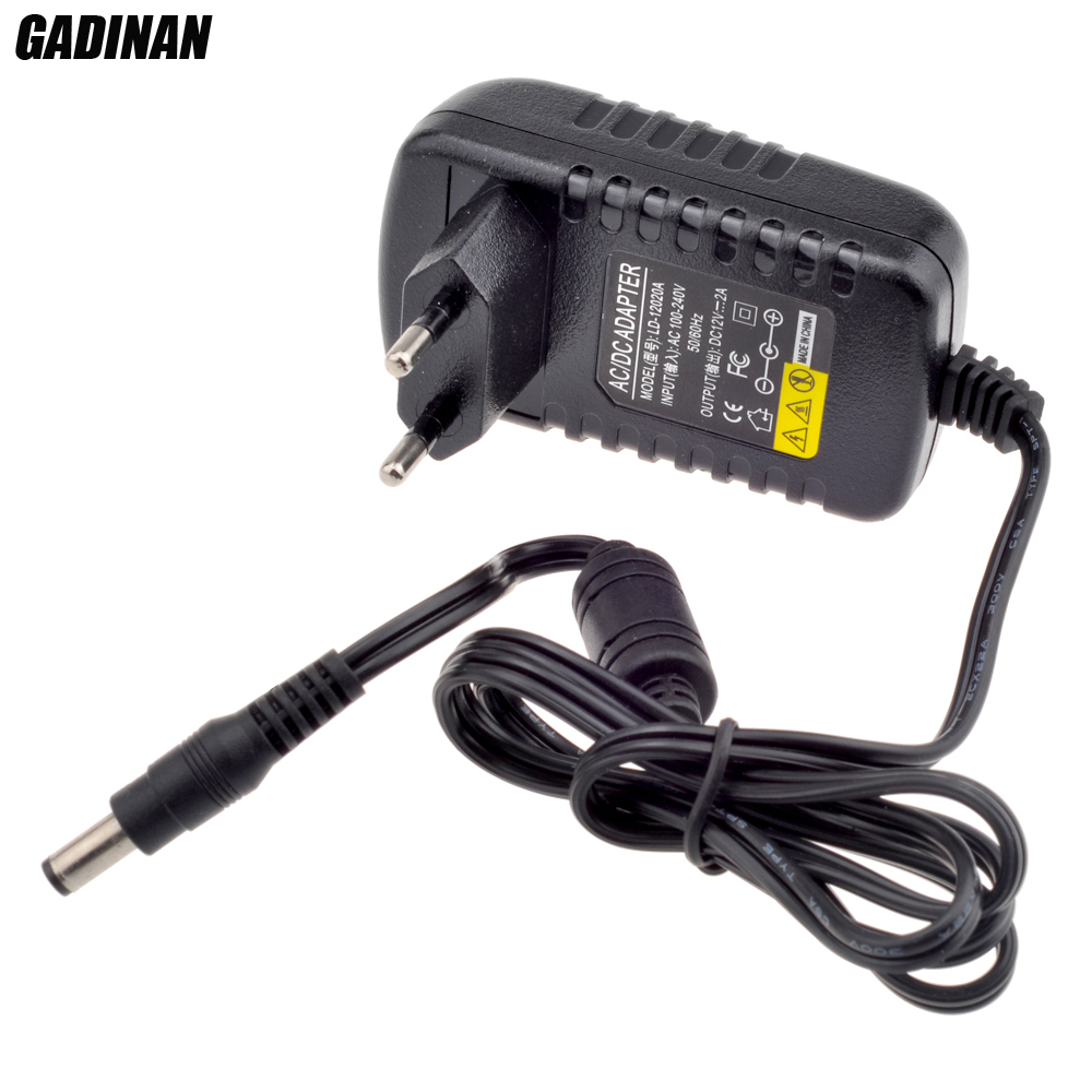 Gadinan 12V 2A AC 100V-240V Converter Adapter DC 12V 2A 2000mA Power Supply EU UK AU US Plug 5.5mm x 2.1mm for CCTV IP Camera new dc 12v 2a ac 100 240v eu us uk au dc adapter charger power supply for led strip light cctv 2 5 5 5mm for dvr camera systems