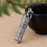 FNJ 925 Silver Mantra Pendant Buddha Gawu Box Open 100% Pure S990 Original Thai Silver Pendants for Women Men Jewelry Making