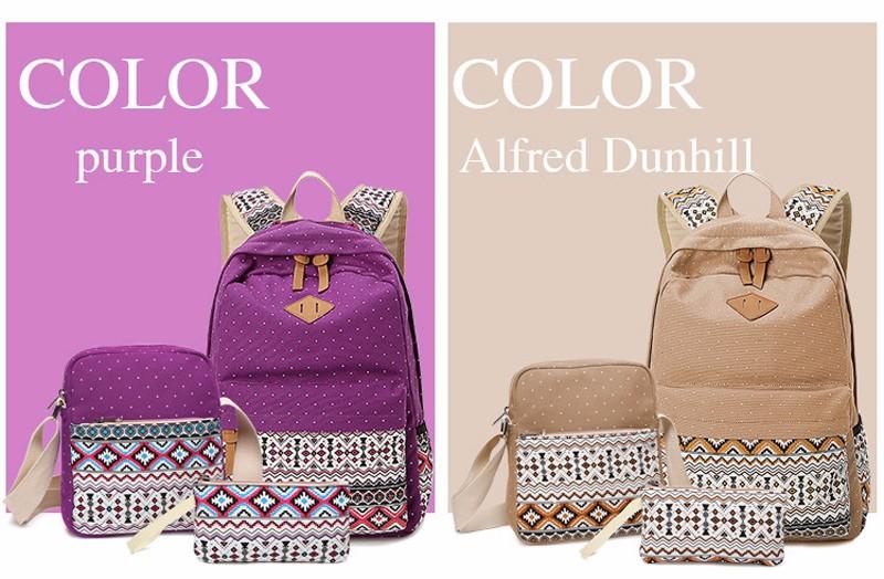 Canvas Printing Backpack Women School Bags for Teenage Girls Cute Bookbags Laptop Backpacks Female Bagpack 3 Piece one Set 7