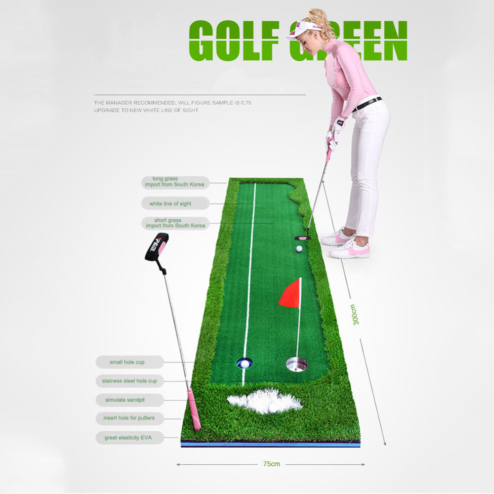 CRESTGOLF Indoor Golf Mats Putting Green Golf Practice Green Golf Training Aids with size 0.5X3m and 0.75X3m for choice golf putting mat mini golf putting trainer with automatic ball return indoor artificial grass carpet