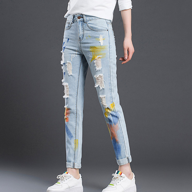 Free Shipping Autumn Painted Women Jeans Straight Ripped Ankle Lenght Pants Denim Cuffs Trousers for Girls