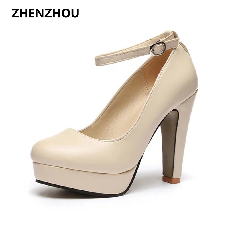 New Free shipping Spring 2017 new European and American big yards fashion high heels shoes waterproof bandage thick with 10cm 2016 spring new european and american fashion shoes thick with fish head shoes nightclub new ultra high heels sandals b454
