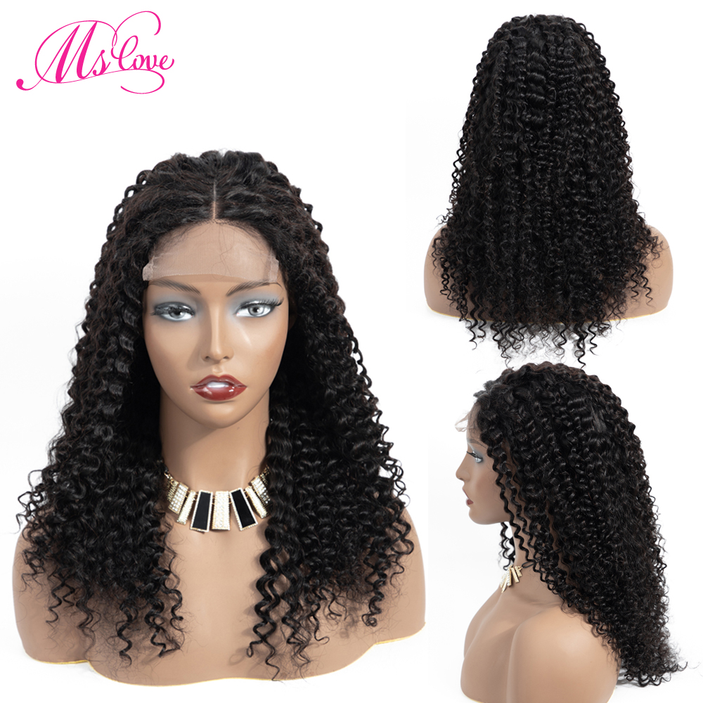 Ms Love 4X4 Lace Closure Kinky Curly Human Hair Wig Human Hair Wigs Remy Brazilian Wig Pre Plucked Natural Color