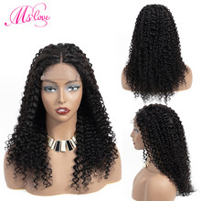 Ms Love 4X4 Lace Closure Kinky Curly Human Hair Wig Human Hair Wigs Remy Brazilian Wig Pre Plucked Natural Color(China)