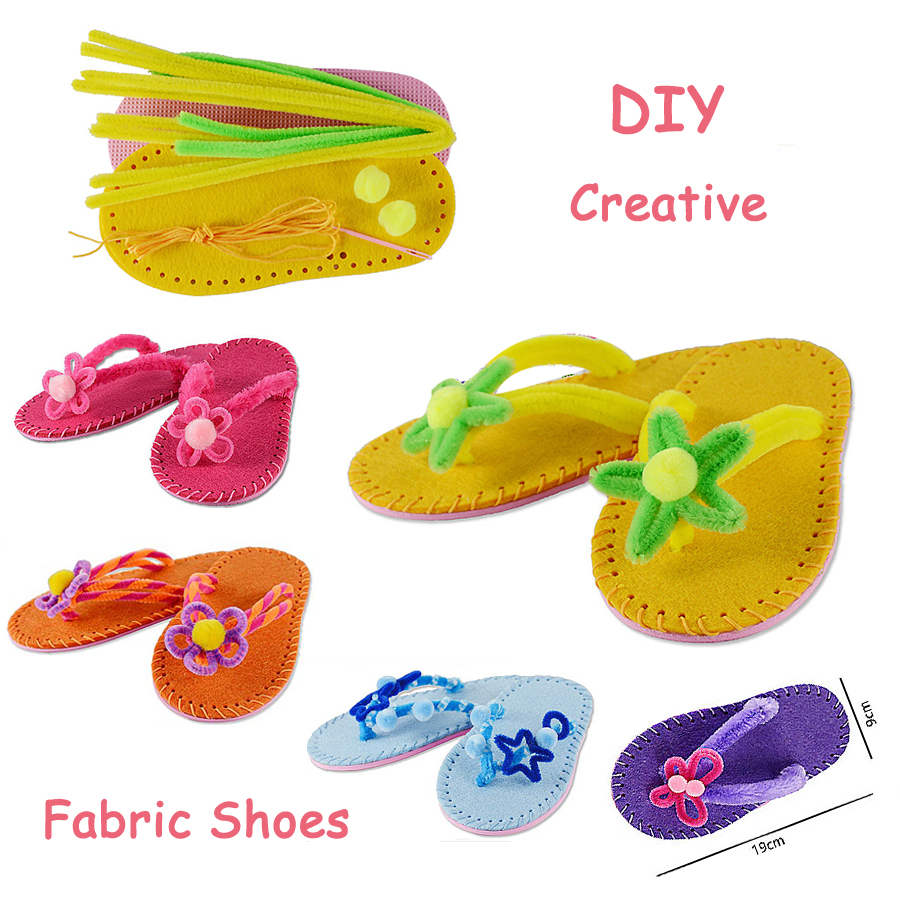 Funny Handmade DIY Non-woven Fabric Shoes Creative Fashion Slippers Sewing Kit Art & Crafts For Children Educational Toys