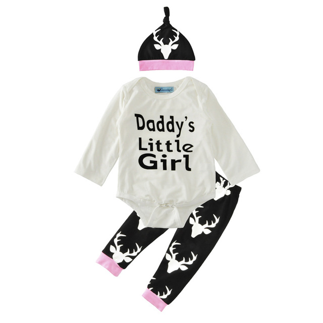 bf61ccab0 Baby Girl Coming Home Outfit, white Deer Leggings, Long Sleeve or S/S  Bodysuit, Hat, Daddy's Little Girl ,reindeer 3pcs/set