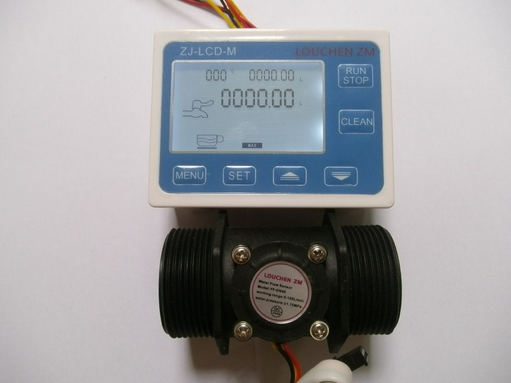 NEW 1.5 Flow Water Sensor Meter+Digital LCD Display control 5-150L/min