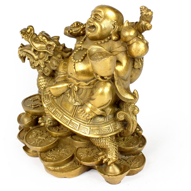 Chinese Copper Wealth Money Happy Laugh Maitreya Buddha On Dragon Turtle Statue Decoration R20