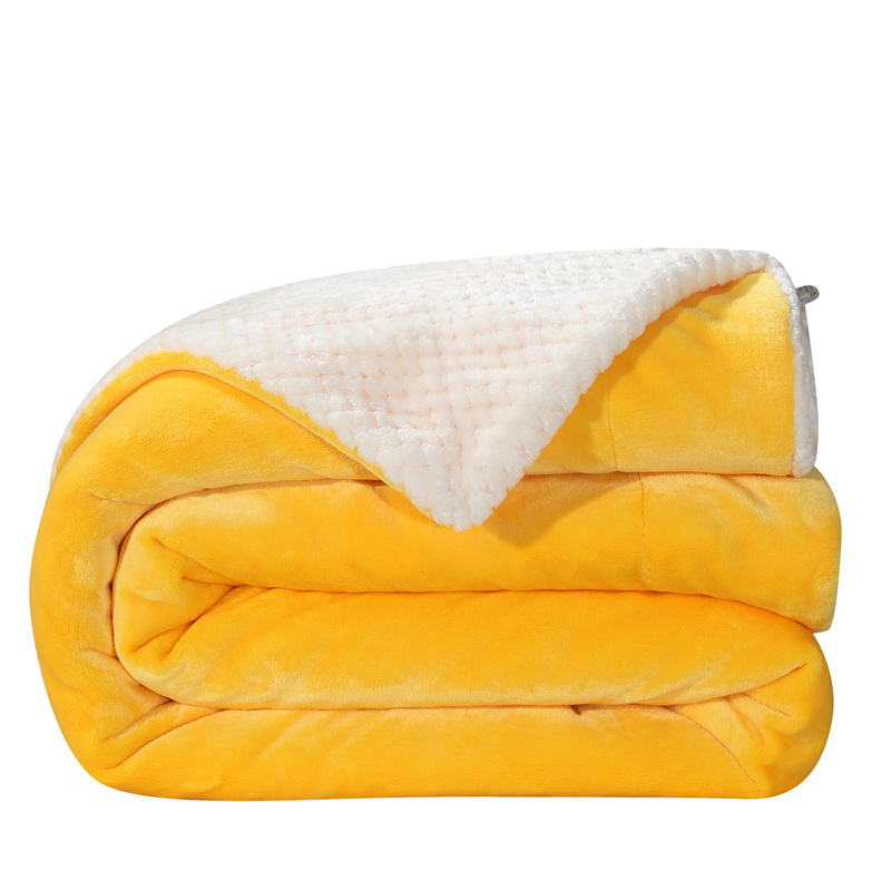 New 2017 Double layer Blanket Super Soft solid yellow white Throw Blanket on Sofa Bed Plane Travel Plaids Adult Home Textile zhh warm soft fleece strip blankets double layer thick plush throw on sofa bed plane plaids solid bedspreads home textile 1pc