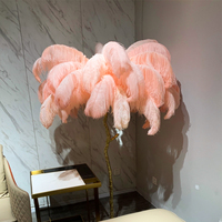 Feather Floor Lamps Feather Lampshade Standing Lamp Home Lighting for Living Room Bedroom Modern Copper Decoration Indoor Study