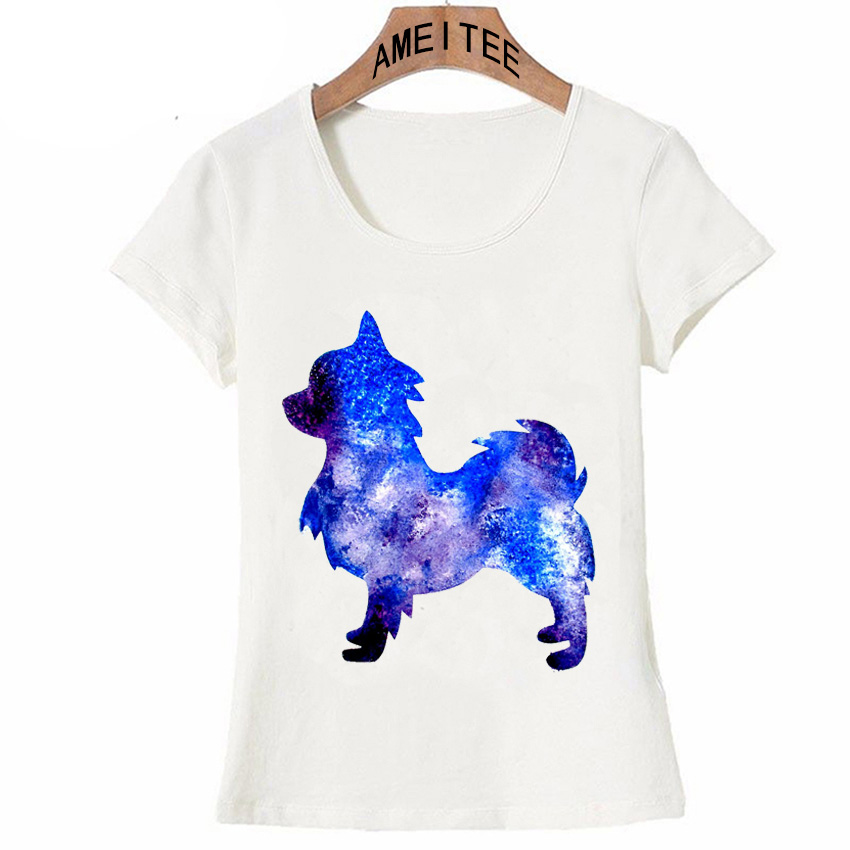 06ed09b6a Very stylish Long Haired Chihuahua Watercolor T Shirt Summer Fashion Women  t shirt Dog Print Casual Tops Hipster Cool Girl Tees-in T-Shirts from  Women's ...