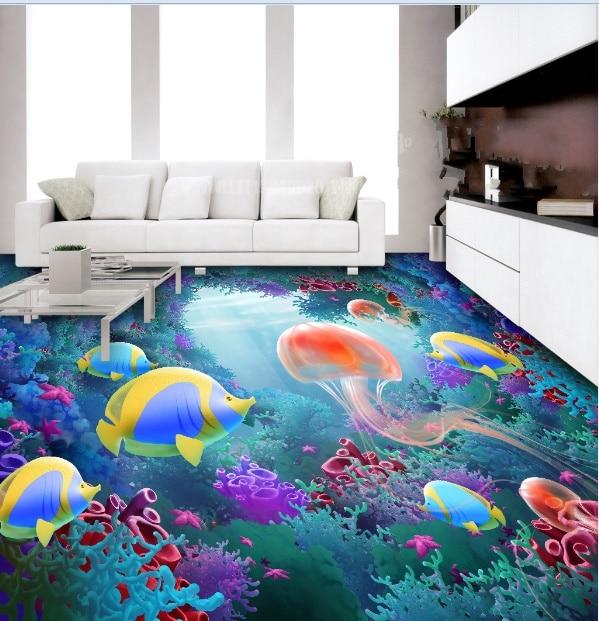 [Self-Adhesive] 3D Cartoon Sea World 8 Non-slip Waterproof Photo Self-Adhesive Floor Mural Sticker WallPaper Murals Print Decal