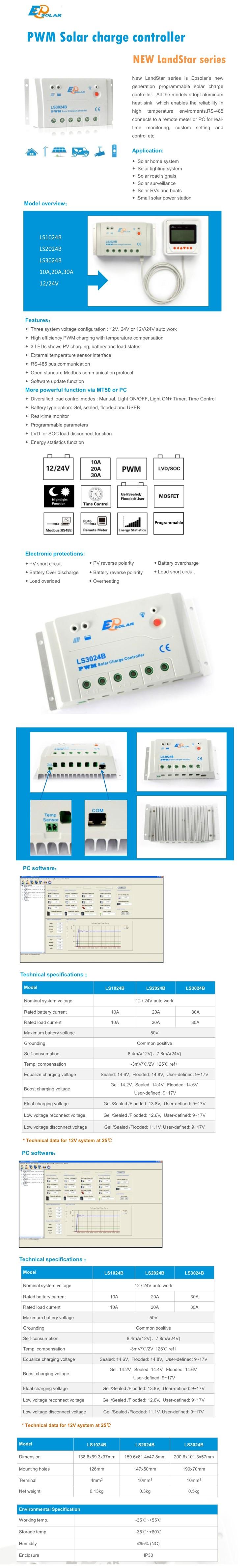 Epsolar Ls3024b 30a 12v 24v Ep Landstar Solar Charge Controller Circuit Regulator Epever