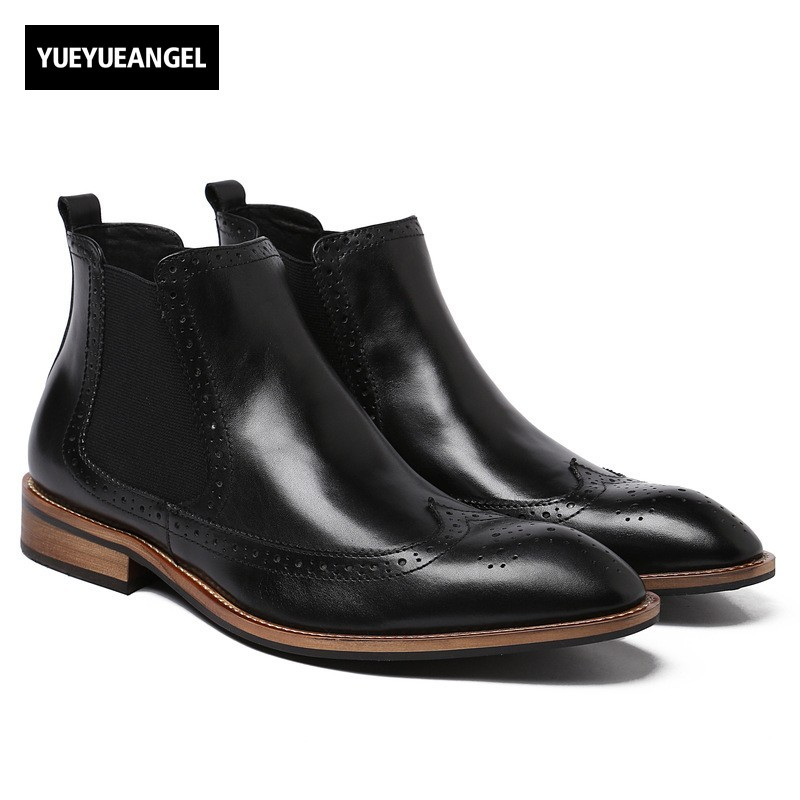 Winter Mens Genuine Leather Casual Shoes Slip On Male Boots Pointed Toe Retro Brogue Wing Tip Fashion New Schuhe Herren Scarpe farvarwo formal retro buckle chelsea boots mens genuine leather flat round toe ankle slip on boot black kanye west winter shoes