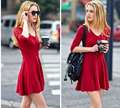 Spring Autumn Women Black Red Short Brief Dress Sexy V Neck Bodycorn 3/4 Sleeve Plus Size Knitted Dress Vestido De Festa D149