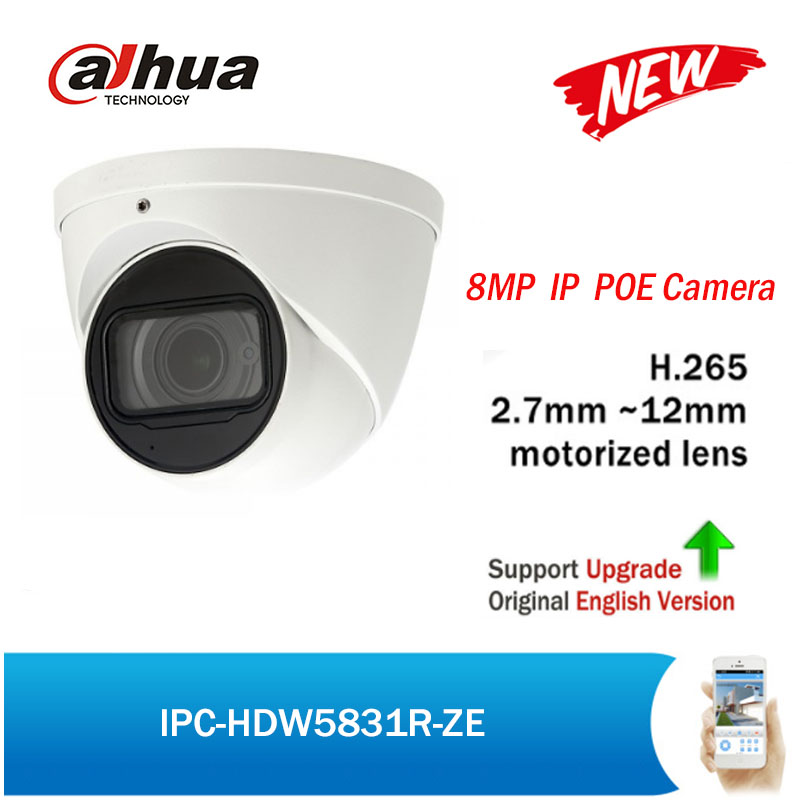 Dahua POE IP Camera 8MP IPC-HDW5831R-ZE 2.7-12mm motorized lens Built-in Mic Max50 IR IP67 H.265 Security Network CCTV Camera free shipping dahua cctv camera 4k 8mp wdr ir mini bullet network camera ip67 with poe without logo ipc hfw4831e se