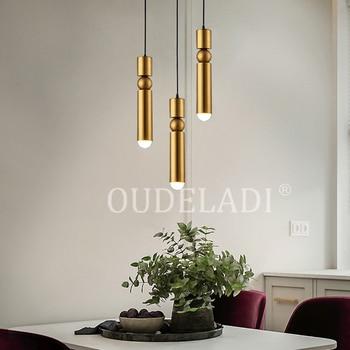 Lámpara colgante nórdica de latón lámpara de cocina moderna barra de Bar de  comedor tubo colgante luces LED lámparas de oficina >> OUDELADI Lighting ...