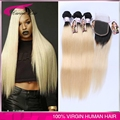 Top Grade Virgin ombre Closure With Bundles Malaysian Blonde Black Roots Extensions 1b/613 Straight 3PCS With Lace Closure