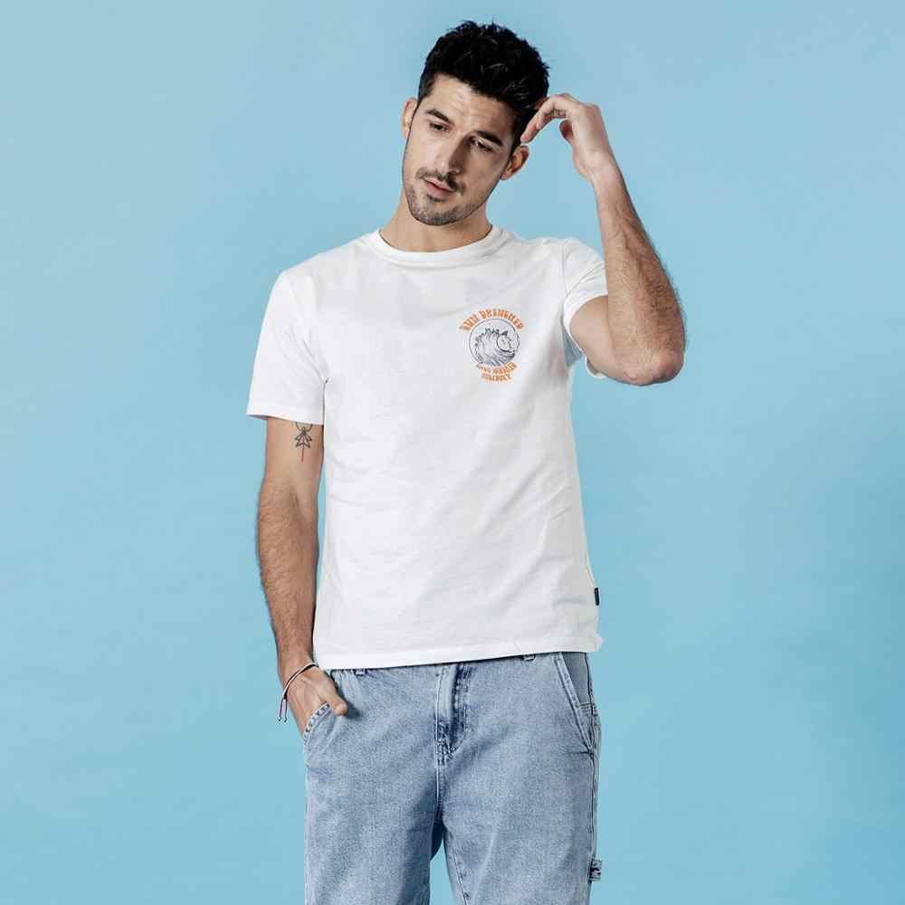 SIMWOOD 2019 verano nueva camiseta de vacaciones hombres causal playa 100% de algodón camiseta mar onda impresión delgada moda camisetas 190305