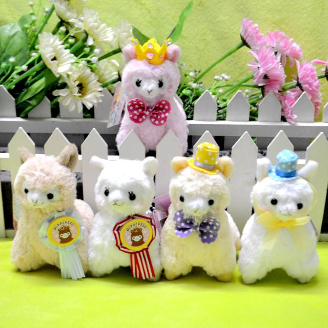 12cm lovely hat bowknot crown arpakasso soft plush stuffed alpacasso alpaca doll toy