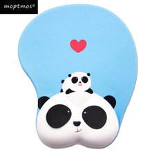 лучшая цена Anime Panda 3D Mouse Pad Ergonomic Soft Silicon Gel Gaming Mousepad with Wrist Support Animal Mouse Mat For PC Mac