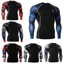 3D Male Print Compression Long Sleeve Shirt Slim Fit Bodybuilding Skin Tights Underwear T-shirt