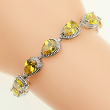 925 Sterling Silver Jewelery Link Chain 18/21cm Bracelets Drop Yellow Cubic Zirconia Hand Spanners Bracelet For Women Gift