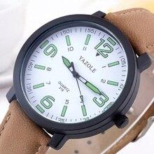 YAZOLE 빛나는 남자 시계 패션 아날로그 석영 남자 손목 시계 가죽 밴드 남자 캐주얼 시계 Erkek 콜 Saati Hodinky Ceasuri
