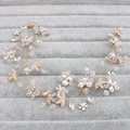Hair vine/tiara wedding bridal vintage boho prom faux Ivory pearl beads/crystals diadem headpiece hair accessories Tiara bead