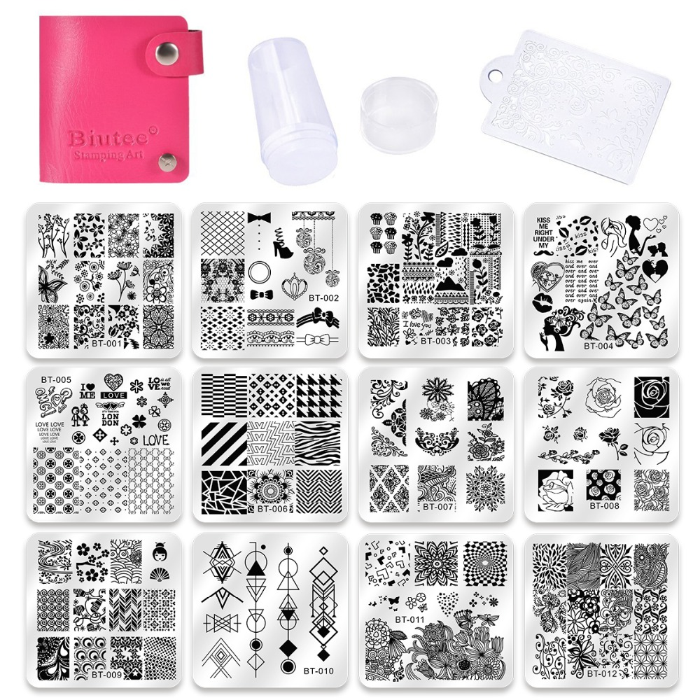 Biutee Nail Art Stamp Templates 12pcs Nail image Plates+1stamper+1scraper+1storage bag Nail Stamping Plate Template Stencil set nail stamping plates nail art stamp template image plate nails diy tool acrylic stamp wedding theme set 01 04