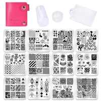 Biutee Nail Art Templates 12pcs Flower Rose Geometry Nail image Plates+1stamper+1scraper+1storage bag Nail Stamping Template set