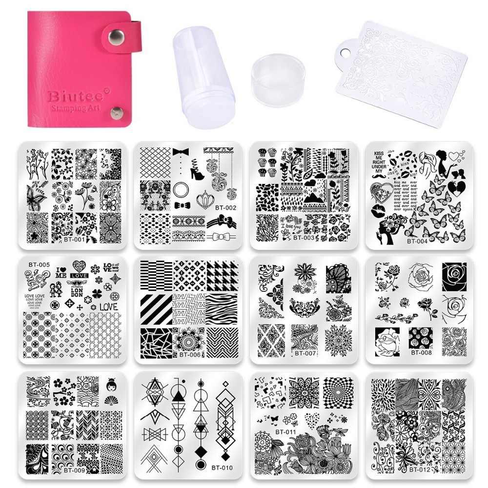 Biutee Nail Art Templates 12pcs Flower Rose Geometry Image Plates 1stamper 1ser