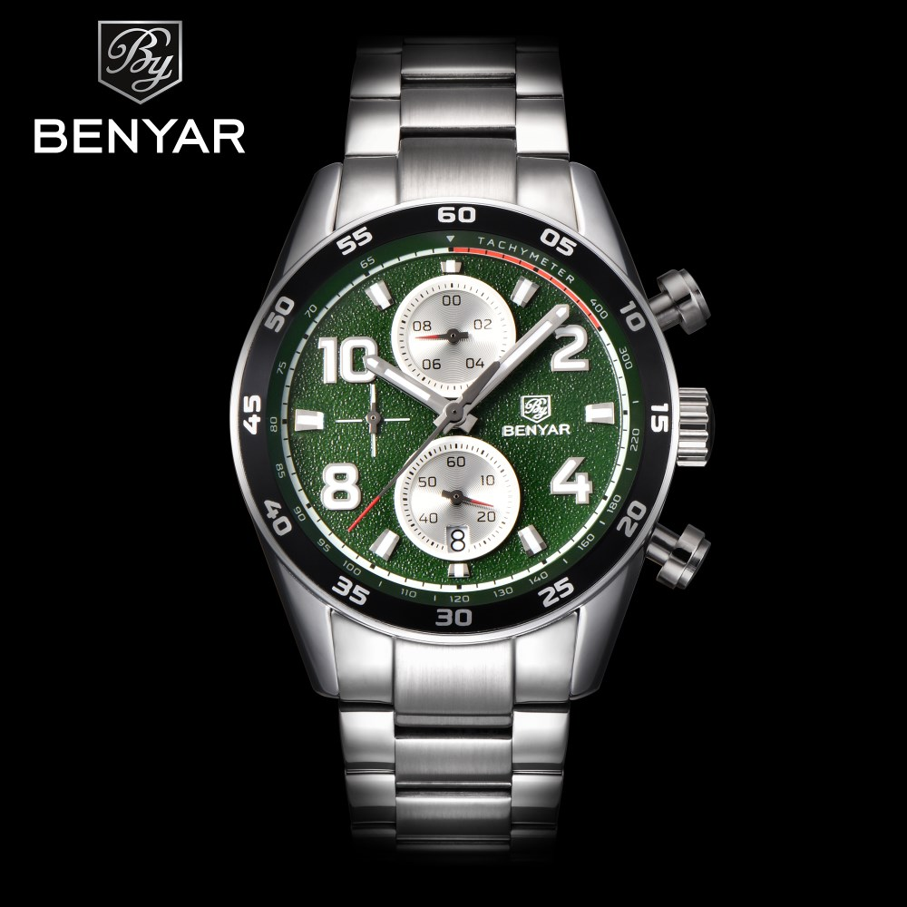 BENYAR Chronograph Mens Watches Fashion Sport Quartz Watch Men Dress Full Steel Waterproof Wristwatches Male Clock erkek saati business men dress watch mens fashion quartz watches analog calendar steel male wristwatches kicadn casual clock erkek kol saati