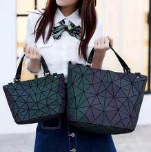 Япония Bao Прямая доставка световой сумка женская Геометрия сумка с решетчатым рисунком мешок цепи сумки на ремне Лазерная Обычная складывающиеся сумочки