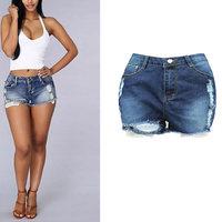Sexy pantalones cortos de mezclilla de alta wasit mujeres 2017 streetwear roca flecos azul flaco ripped jeans shorts de playa de algodón de fitness mini short