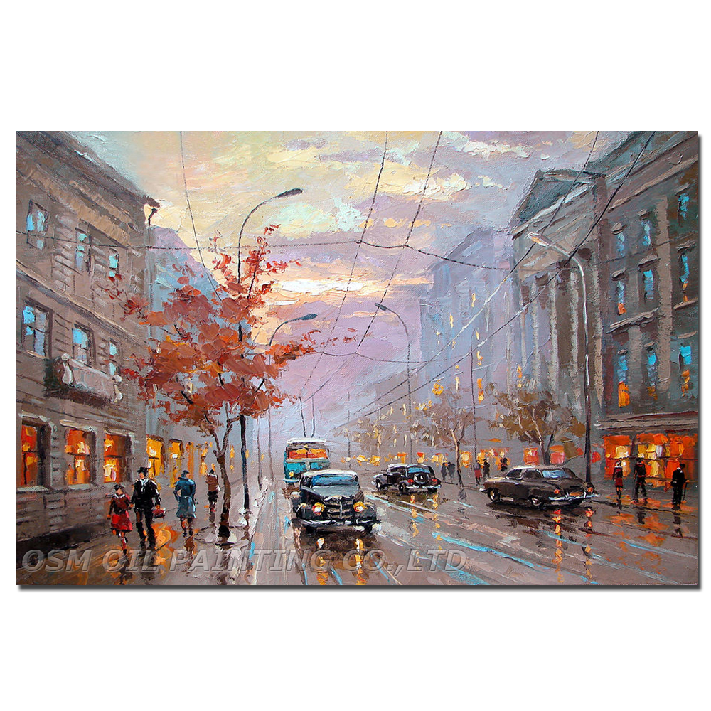 High Quality Big Size Impression Street Landscape Oil Painting on Canvas Hand-painted Walking in Street Canvas Car Oil Painting