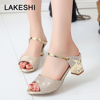 Metal Square Heel Women Sandals Women Heel Shoes Gold Sliver Peep Toe Party Ladies Sandals