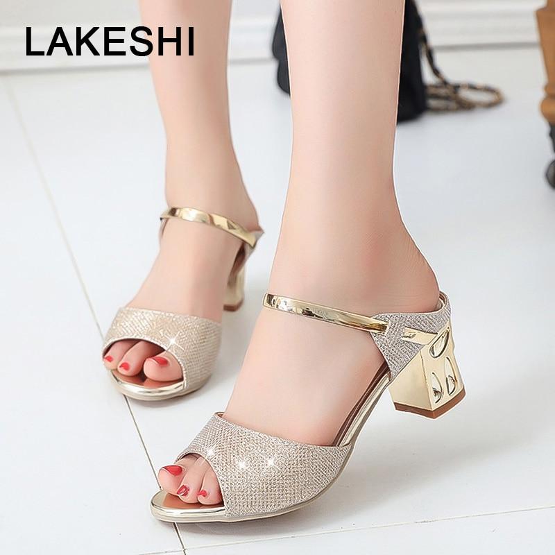 LAKESHI Metal Square Heel Women Sandals Women Heel