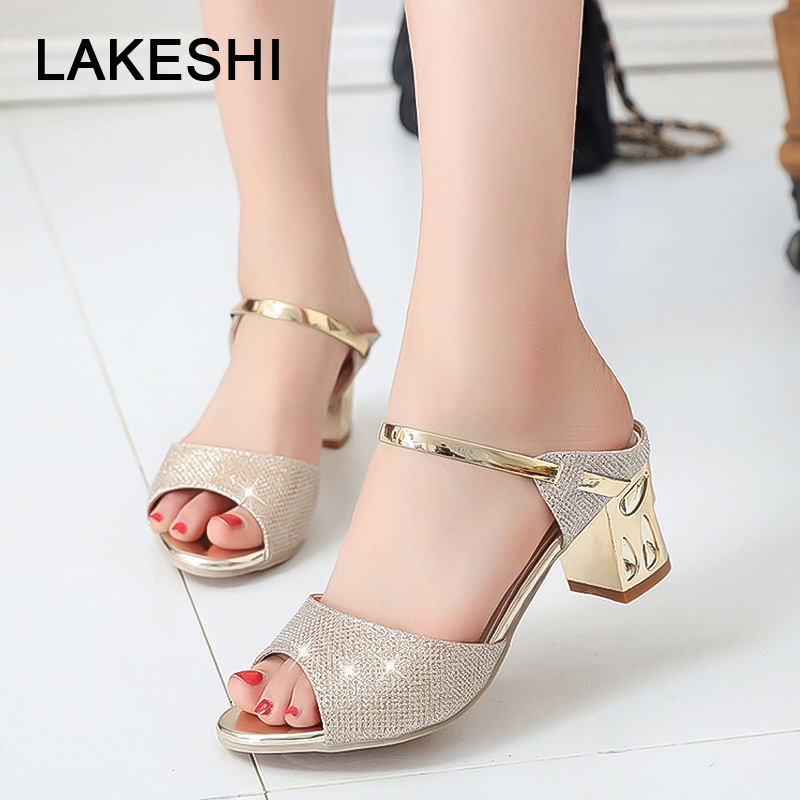 LAKESHI Metal Square Heel Women Sandals Women Heel Shoes Gold Sliver Peep Toe Party Ladies Sandals 2018 Summer Sandals Woman