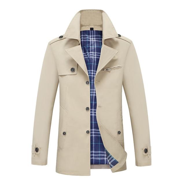 2019 TAIZIQI turn-down collar abrigo hombre  trench coat men vintage men trench coat men casual refular long 2732