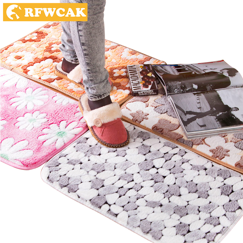 RFWCAK Classic Style High Quality 1PC Flower Pattern Home Bedroom Front Door Mats Bathroom Anti Slip Mats Toilet Waterproof Mats