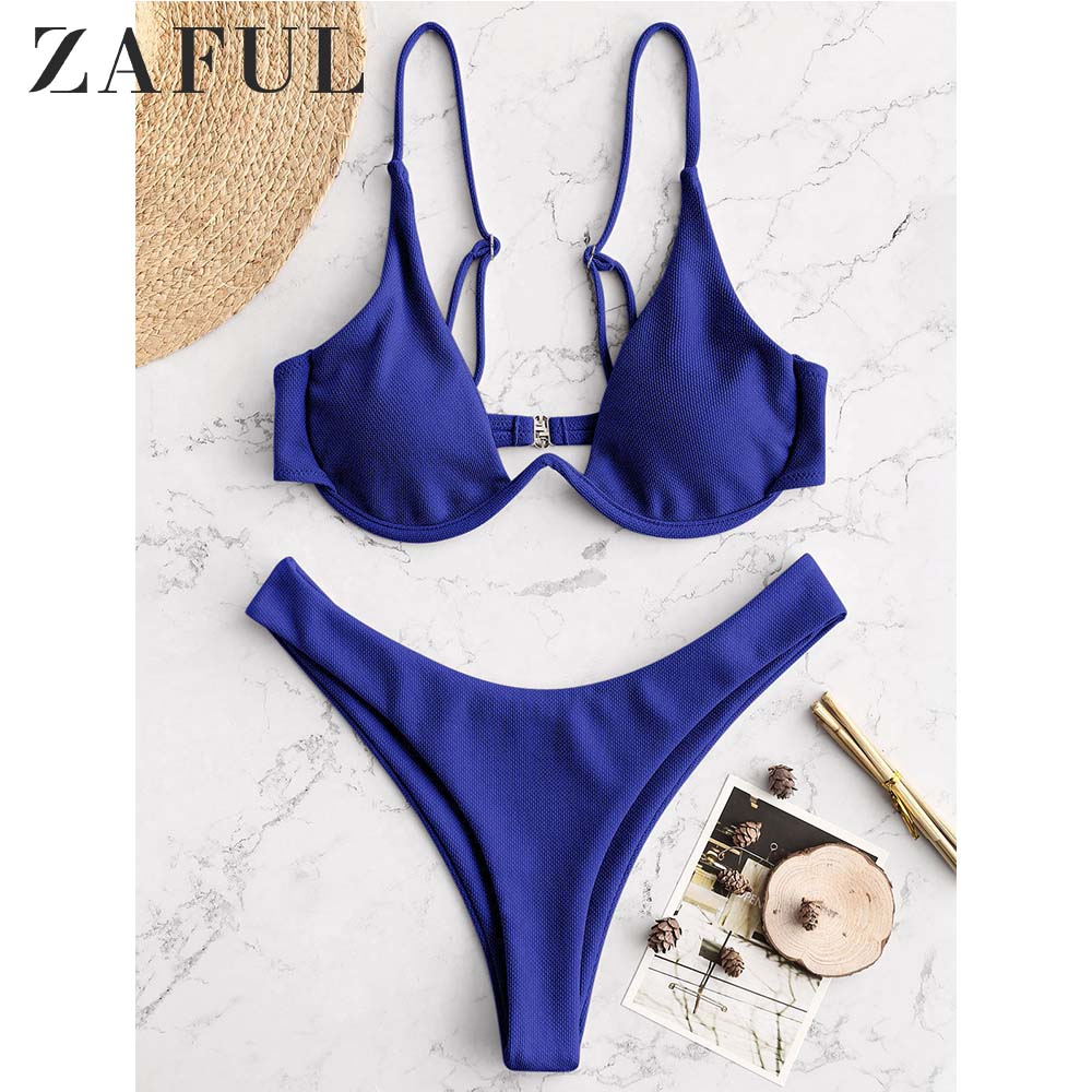ZAFUL Textured Underwire High Cut Bikini Set Spaghetti Straps Solid Underwire Push Up Women Swimsuit Swimwear 2019 Bathing Suit