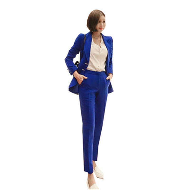 Radient Jacket Pant Blue Pant Suits Formal Ladies Office Ol Uniform Designs Women Elegant Business Work Wear Jacket With Trousers Sets Back To Search Resultswomen's Clothing