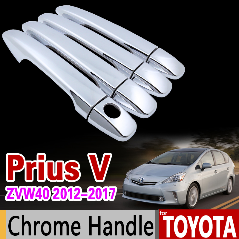 for Toyota Prius V zvw40 2012 - 2017 Chrome Handle Cover Trim Prius 40 Grand Prius+ Wagon Car Accessories Stickers Car Styling prius radio cd changer