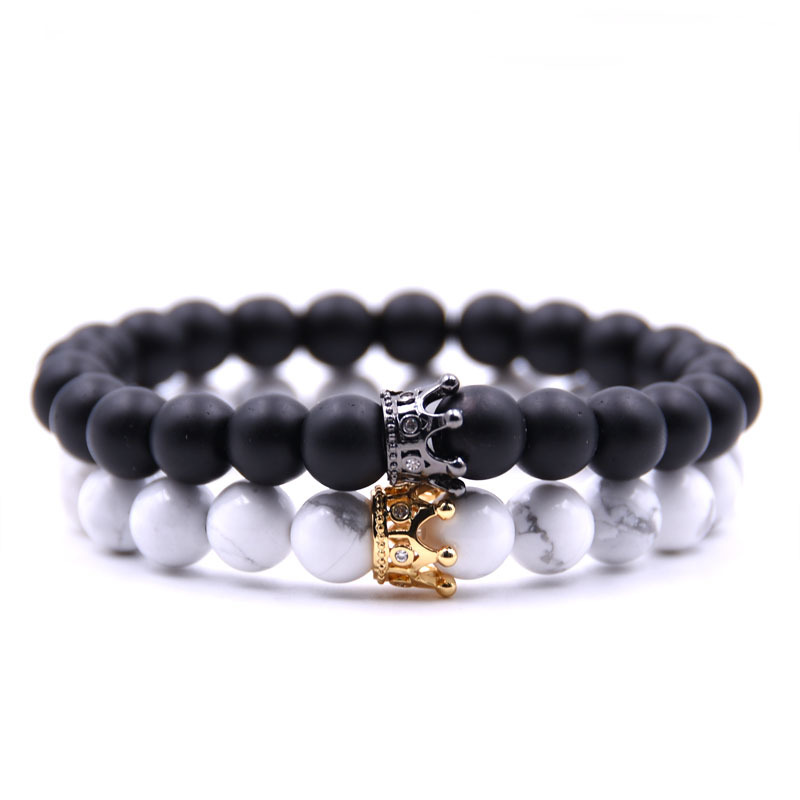 Charm 8mm Tiger Eye Black Natural Stone Beads Bracelet Green Eye Wolf Head Animal Gold Double Crown Bracelets For Men And Women To Be Distributed All Over The World Charm Bracelets Jewelry & Accessories